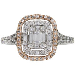 Round Brilliant and Baguette Shape Diamond Halo Mosaic Ring