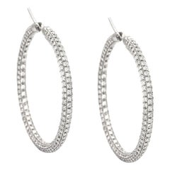 Italian Garavelli's 8.5 Carat Round Diamond White Gold Hoop Earrings