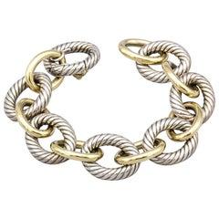 David Yurman Extra Large Silver and 18 Karat Gold Oval Link Bracelet