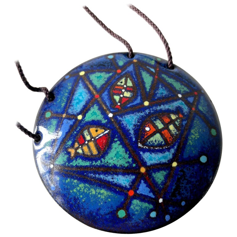 Barney Reid Enamel California Abstract Modernist Pendant Necklace For Sale