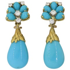 1960's 18 Karat Gold Turquoise Diamond Dangle Pendant Earrings