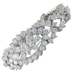 20.00 Carat Diamond Ornate Platinum Bangle Bracelet