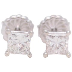 1.26 Carat Princess-Cut Diamond Stud Earrings in 18 Karat White Gold