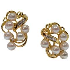 Lustrous Akoya Pearl & Diamond 14K Gold Earrings