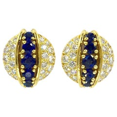 Estate Tiffany & Co. Diamond and Sapphire 18 Karat Stud Earrings