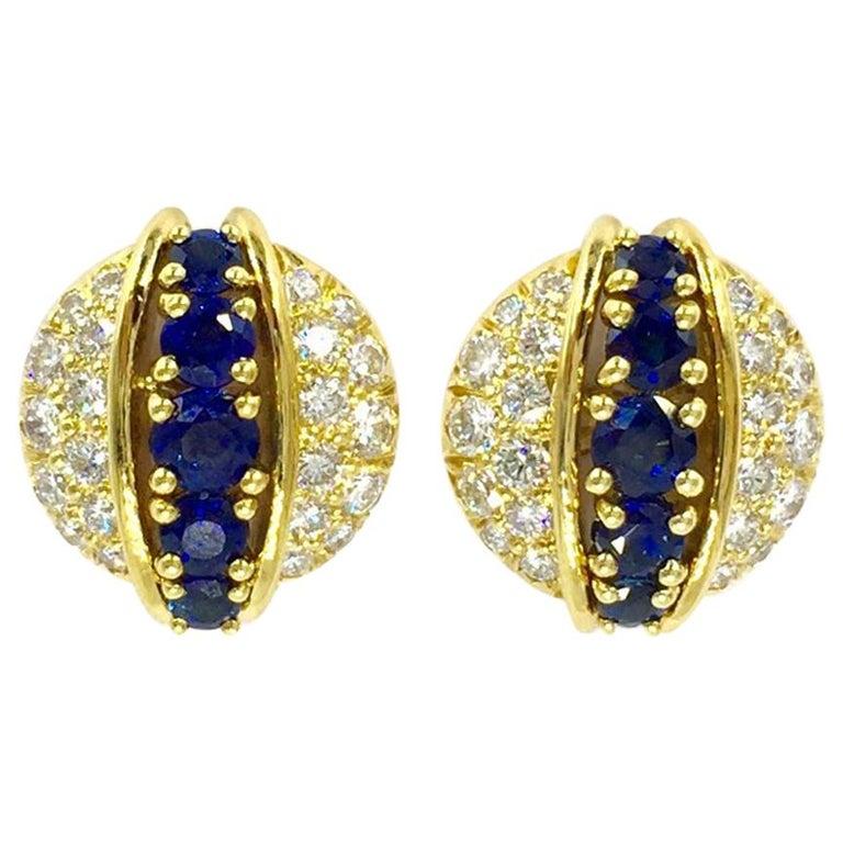 Estate Tiffany & Co. Diamond and Sapphire 18 Karat Stud Earrings