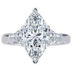 3.07 Carat Marquise Diamond FVVS2 (GIA) HPHT Color, 0.53ct Diamonds, 14kw Ring
