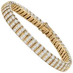 12 Carat Round Brilliant Cut Natural Diamonds Set in a 14 Karat Gold Bracelet