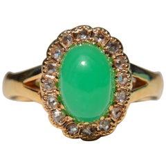 Vintage Chrysoprase Rosecut Diamond Halo 1.4 Carat 14 Karat Gold Cocktail Ring