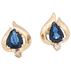 14 Karat Yellow Gold Sapphire and Diamond Stud Earrings