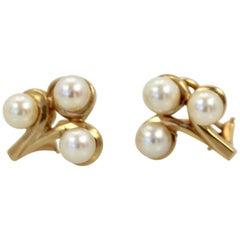 Vintage Saltwater Pearl Ring and Earring Suite 14 Karat