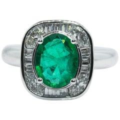 Modern Emerald Diamond Ring