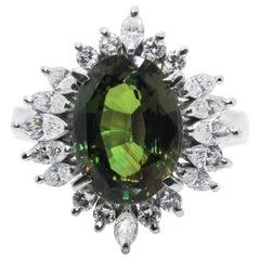 GIA Certified 4.08 Carat Natural Alexandrite and Diamond Ring