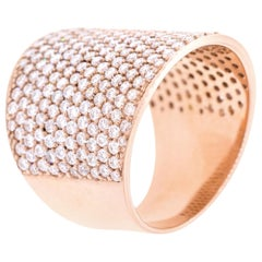 18 Karat Rose Gold and 2.33 Carat White Diamond Pipe Pave Ring by Alessa Jewelry