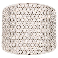 18 Karat Gold and 2.29 Carat White Diamond Pipe Pave Ring by Alessa Jewelry