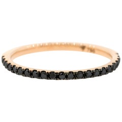 18K Rose Gold & 0.21 cts Black Diamond 1.33mm Half Stack Eternity Ring by Alessa