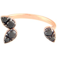 18 Karat Gold and 0.48 Carat Black Diamond 3 Pear Floating Ring, Alessa Jewelry
