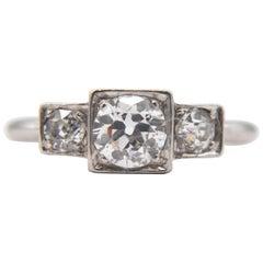 Antique Art Deco Diamond 3-Stone Trinity Step Engagement .50 Carat Platinum Ring