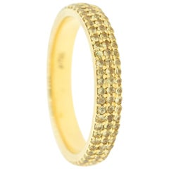 18K Yellow Gold & 1.18 cts Yellowish Diamonds Domed Pave Ring by Alessa Jewelry