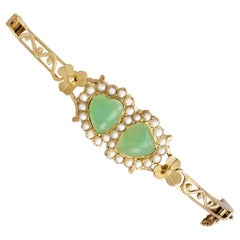 Antique Victorian 2.20Ct Chrysoprase and Seed Pearl Yellow Gold Bangle