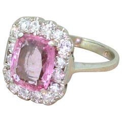Midcentury 1.80 Carat Natural Pink Sapphire and Diamond Platinum Ring