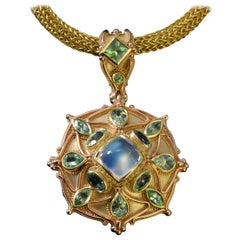 Kent Raible Rainbow Moonstone Mandala 18 karat yellow and rose gold pendant