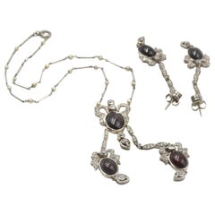 Platinum Diamond and Garnet Necklace and Earring Set