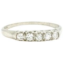 Vintage Platinum Diamond Five-Stone OEC Cut Band 0.25 Carat G/H-SI