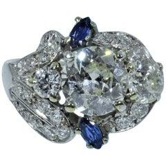 Platinum Art Deco Ring Set with 2.50 Carat Center, 1.50 Carat in Mounting