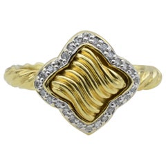 David Yurman 18 Karat Gold and Diamond Quatrefoil Ring