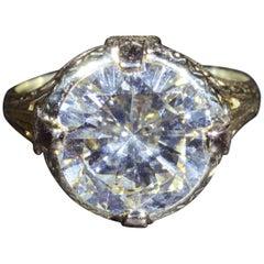 Antique Art Deco Filigree Engagement Ring Set with GIA Graded 4.63 Carat Diamond