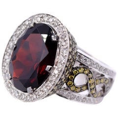 Sethi Couture 3.01 Carat Green Diamond and Garnet Cocktail Ring in 18 Karat Gold