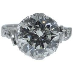 Art Deco Engagement Ring Set with GIA Graded 3.68 Carat Diamond