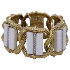 Wander White Onyx and Diamond Gold Bracelet