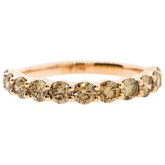 18 Karat Gold and 1.12 Carat Cognac Diamonds Half Pave Stack, Alessa Jewelry