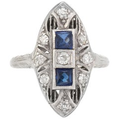 Antique Deco Diamond Ring French Cut Sapphire Platinum 18 Karat Filigree Vintage