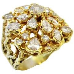 Organic Diamond 1970s Cocktail Ring