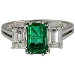 Colombian Emerald and Diamond Trilogy Engagement Ring