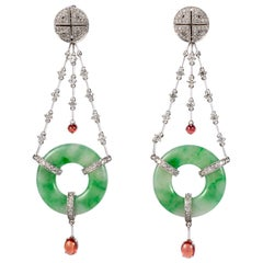 Edwardian Style Natural Jadeite 18 Karat White Gold, Diamond and Spinel Earrings