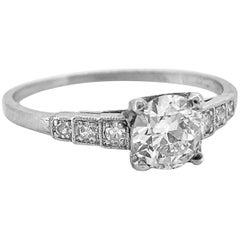Platinum .53 Carat Diamond Art Deco Antique Engagement Ring