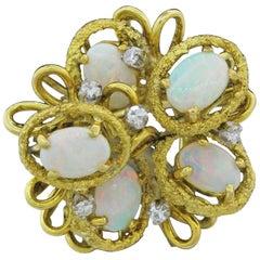 Midcentury 3 Carat Opal Diamond Statement Cocktail Cluster Ring