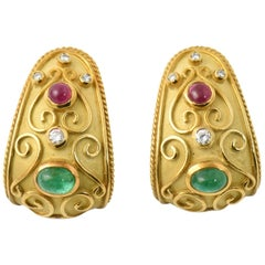 Byzantine Style Emerald Tourmaline Diamond Gold Clip Earrings