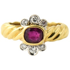 1980s Italian Ruby Diamond Gold Ring