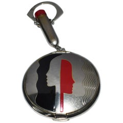 "Richard Hudnut ""Deauvile"" Art Deco Faces Black and Red Chrome Compact"