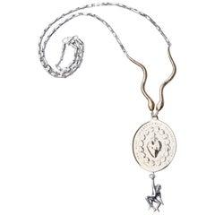Monkey Sacred Heart Medal Snake Necklace Silver J DAUPHIN