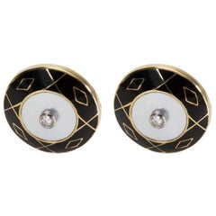 Deakin & Francis Diamond Cufflinks Set in 18 Karat Yellow Gold 0.25 Carat