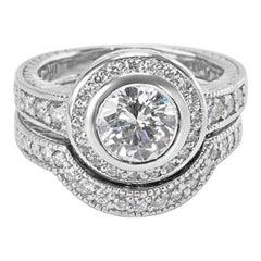 GIA Certified Diamond Halo Engagement Wedding Set in Platinum F SI2 1.90 Carat