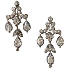 White Diamond Chandelier Drop Earrings Pendant Brooch