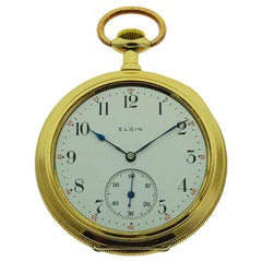 Elgin Yellow Gold Filled Art Deco Open Faced Pocket Watch from 1906
