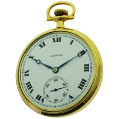 Illinois Open Faced Pocket Watch with Kiln Fired Enamel Dial from 1919